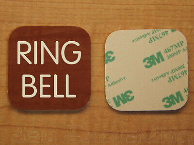 Engraved 2x2 Mahogany Grain RING BELL Plastic Tag Sign Plate | Doorbell Plate