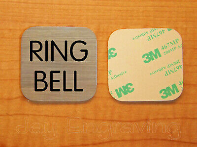 Engraved 2x2 Brushed Silver RING BELL Plastic Tag Sign Plate | Doorbell Plate