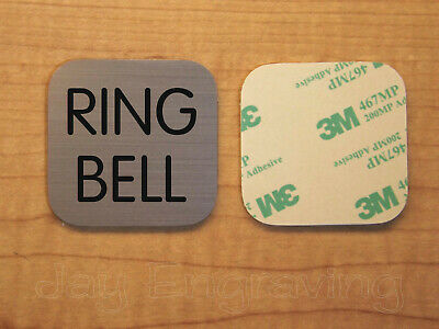 Engraved 2x2 Brushed Copper RING BELL Plastic Tag Sign Plate | Doorbell Plate