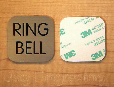 Engraved 2x2 Brushed Gold RING BELL Plastic Tag Sign Plate | Doorbell Plate