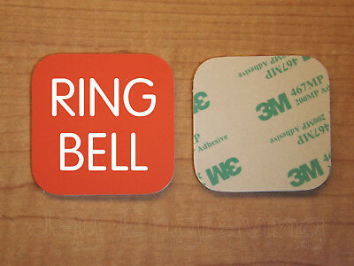 Engraved 2x2 Orange RING BELL Plastic Tag Sign Plate Doorbell Plate Door Plaque