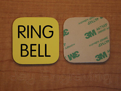 Engraved 2x2 Yellow RING BELL Plastic Tag Sign Plate Doorbell Plate Door Plaque
