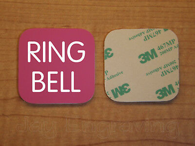 Engraved 3x3 RING BELL Plastic Tag Sign Plate | Pink Doorbell Plate Plaque