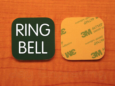 Engraved 2x2 Pine RING BELL Plastic Tag Sign Plate | Doorbell Plate Door Plaque