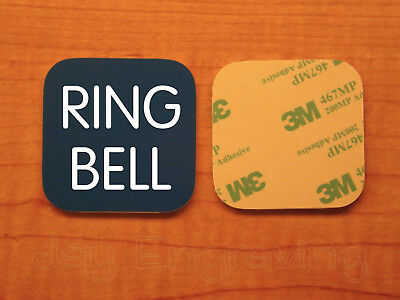 Engraved 3x3 RING BELL Plastic Tag Sign Plate | Blue Doorbell Plate Plaque
