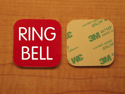 Engraved 3x3 RING BELL Plastic Tag Sign Plate | Red Doorbell Plate Plaque
