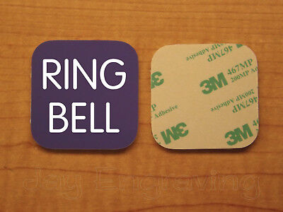 Engraved 2x2 Purple RING BELL Plastic Tag Sign Plate Doorbell Plate Door Plaque