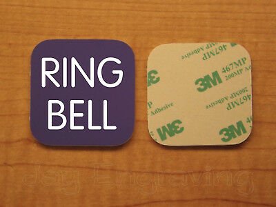Engraved 3x3 RING BELL Plastic Tag Sign Plate | Purple Doorbell Plate Plaque