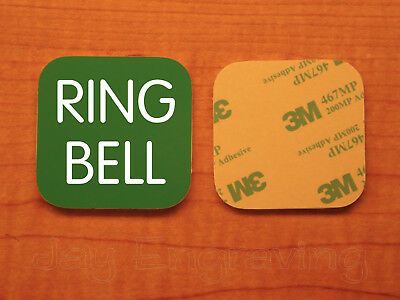 Engraved 3x3 RING BELL Plastic Tag Sign Plate | Green Doorbell Plate Plaque