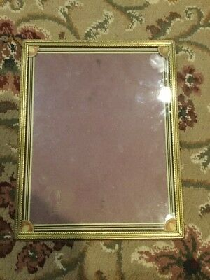 "Vintage Gold Tone Metal or Brass Picture Frame 8 x 10"" Velvet Back Acorn Tin 4xs"