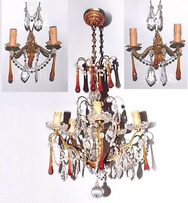 Stunning  French antique chandelier with a pair of wall sconces amber drops