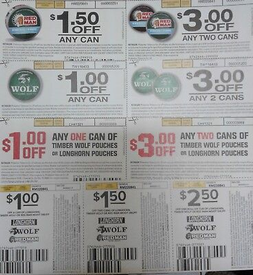 Cigarettes tobacco coupons $73 longhorn timberwolf Redman Dip snuff chew pouche