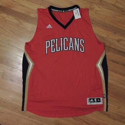 New Orleans Pelicans Adidas NBA Blank Jersey Red Gold Mens Size XL NEW 29a00e6c4