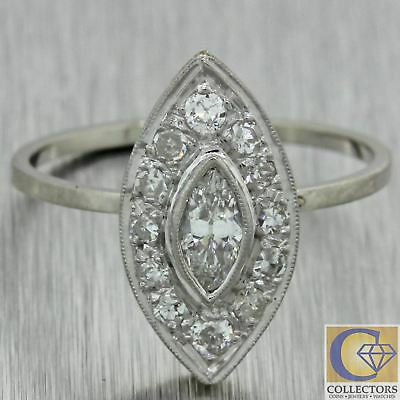 1920s Antique Art Deco 18k Solid White Gold .75ct Marquise Diamond Navette Ring
