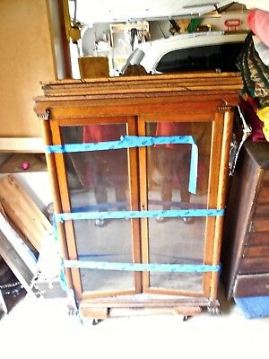 Antique Oak Claw Foot Double Door Bookcase/original Stain From Vermont Estate!