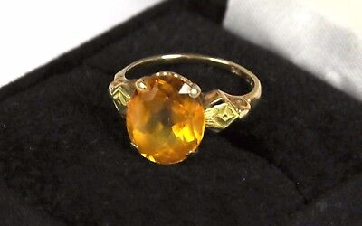 Vintage 10K Yellow Gold Synthetic Orange Spinel Art Deco Ring Size  6