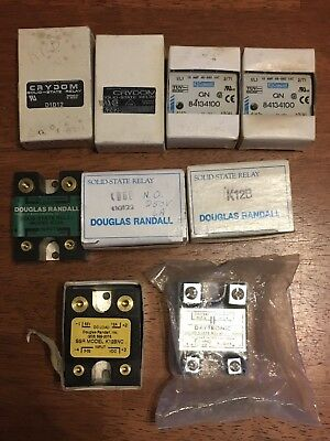Lot of 9 Solid State Relays Crydom Randall Daytronic Crouzet K06D K12A D1D12