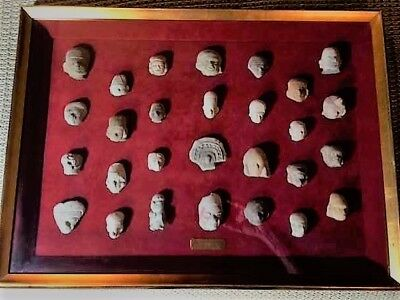 Pre-Columbian - Jama Coaque Artifact Collection - 28 Items In One Framed Piece