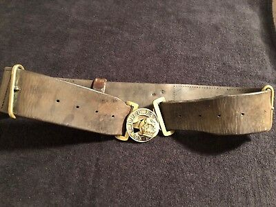 Victorian Brown Leather Military Belt & Brass Buckle
