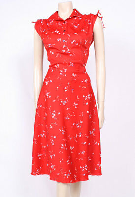 Original Vintage 1970's 70's Red Printed Collars Flared Day Dress! Uk 10