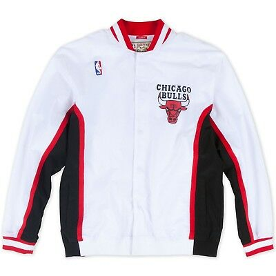 Men's NBA Mitchell & Ness Jacket - Authentic Warm Up - White 1992 Chicago Bulls