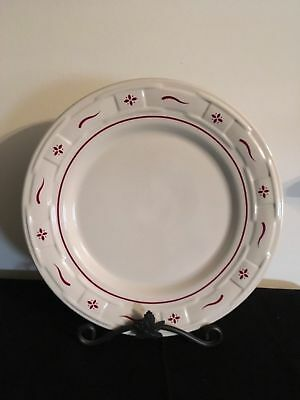 "Longaberger 10"" Woven Traditions Pottery Dinner Plate-Traditional Red-EUC"