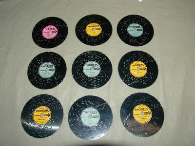 Lot of 9 THORENS MUSIC BOX METAL SONG DISCS
