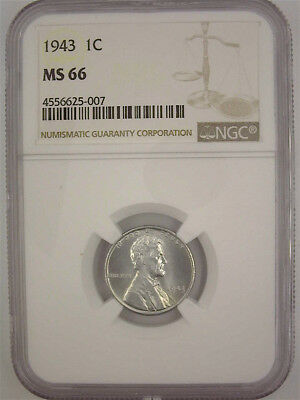 1943 Wartime Steel Lincoln Cent Ngc Ms66