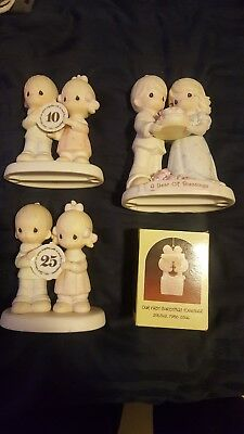Lot of 1st 10th & 25th Anniversary Precious Moments Figurines & 1st Christmas!