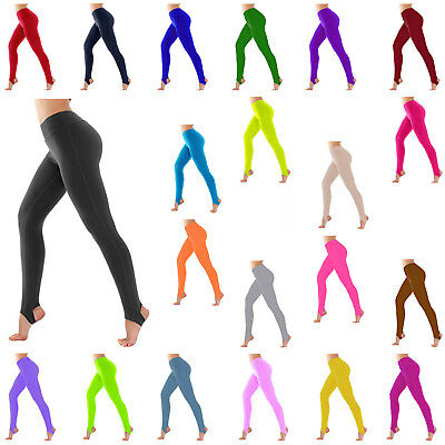 Girls Children Kids Stirrup  Leggings Ballet Dance Gymnastics Shiny Nylon Lycra