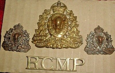 Cap Badges-Canadian Ww2 Royal Canadian Mounted Police Cap Collars & Title