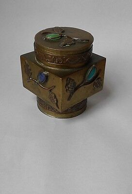 ANTIQUE CHINESE EXPORT jeweled BRASS & COPPER TEA CADDY. no reserve--BEAUTIFUL.