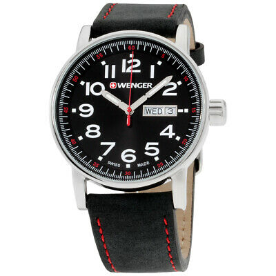 Wenger Attitude Black Dial Leather Strap Men's Watch 010341103