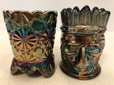 Lot Of 2 St Clair Indian Head/Barrel Toothpick Holder Carnival Glass  Studio