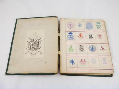 Antique Victorian Edwardian Album Of 280 Embossed Monograms Crests Coats of Arms