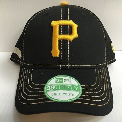 check out 9ee69 1eef6 YOUTH Pittsburgh Pirates Cap New Era 39Thirty Stretch Fit Hat Crux Line Neo