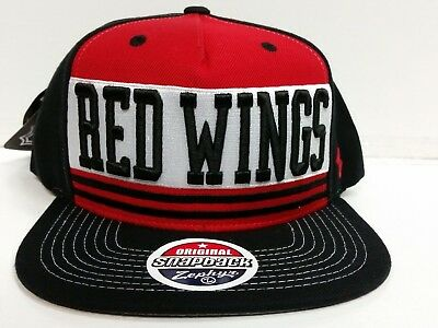 Detroit Red Wings Zephyr Cap Flat Brim Snapback Headline Hat NHL