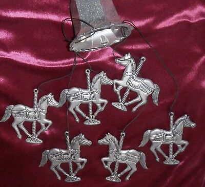 Vintage Pewter Wind Chime 6 Carousel Horses From Bell 18 Inches