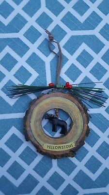 itreekedyou.com Yellowstone with Moose in a Log Christmas Ornament