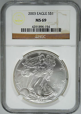 2003 NGC MS 69 $1 Silver American Eagle (Uncirculated 1 oz)