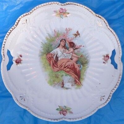 """Angel Germany Cherub Cake Plate Cut out Handles 9 1/2 """" serving tray vtg Ant"""