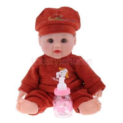 MagiDeal 12'' Newborn Baby Boy Doll in Red Brown Sweater - 5pcs Gift Set