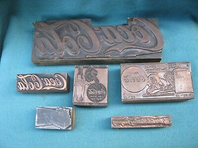 6 Vintage 1940s Coca Cola Advertising Printing Plate Copper on Wood Block Stamps