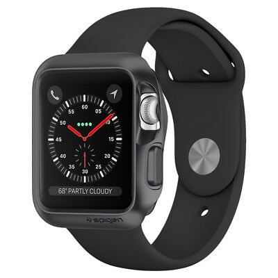 Apple Watch Series 1,2,3 Spigen® [Slim Armor] Space Gray Sleek Case (38mm, 42mm)