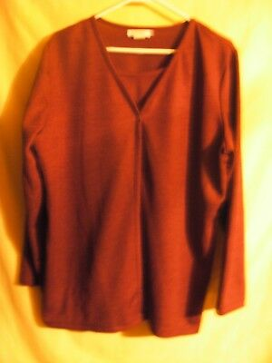Roaman's Womens Shirt Layered Style Long Sleeves Wine One Button Front Large