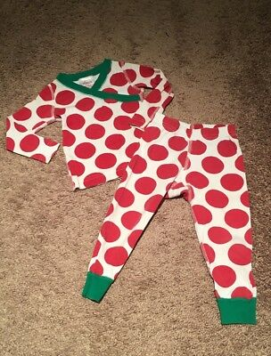Girls Hanna Andersson Pajama Set Christmas Red Green Size 80 18-24 Months PLAY