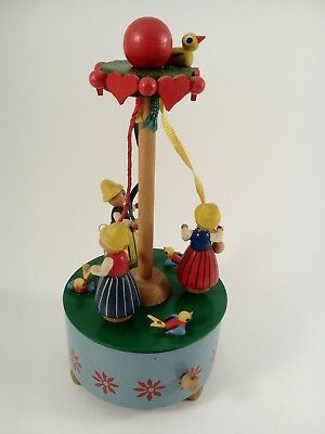 Vintage Steinbach May Pole Wood Music Box Animated made in West Germany