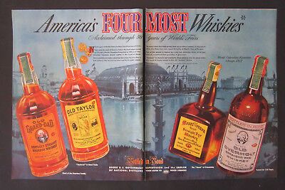 1939 World's Fair Americas Four Most Whiskies 50 Year Celebration Vintage Ad