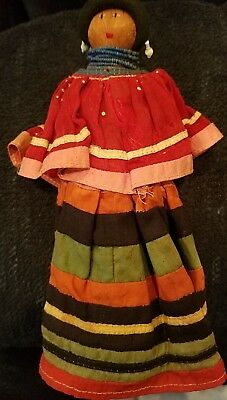 "Vintage Handmade SEMINOLE INDIAN DOLL with Palmetto Fiber Body 8"" tall"