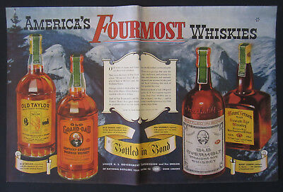 1939 World's Fair America's Four Most Whiskies 50 Year Celebration Vintage Ad